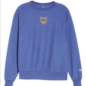 MCM X Champion Crewneck Sweatshirt distressed Blue